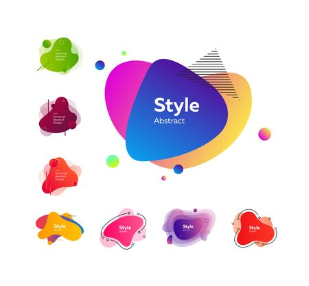 Multicolored abstract stains set. Modern fluid multi layer compositions with sample text. Trendy minimal templates for presentations, banners, apps and websites.