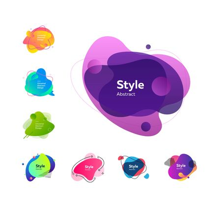 Multicolored badges set. Dynamical abstract figures. Trendy minimal templates for presentations