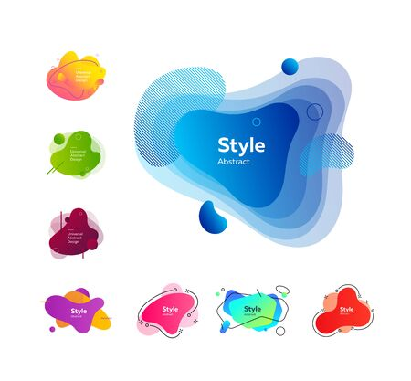 Multi-colored collection of creative shapes. Dynamical colored forms and line. Gradient banners with flowing liquid shapes. Иллюстрация