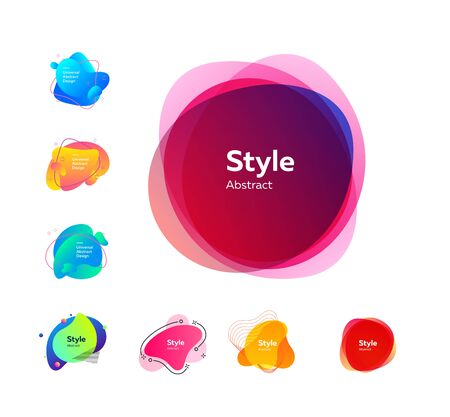 Multicolored dynamic shapes for banners set. Modern abstract figures and lines with sample text. Trendy minimal templates for presentations, banners, apps and web pages. Иллюстрация