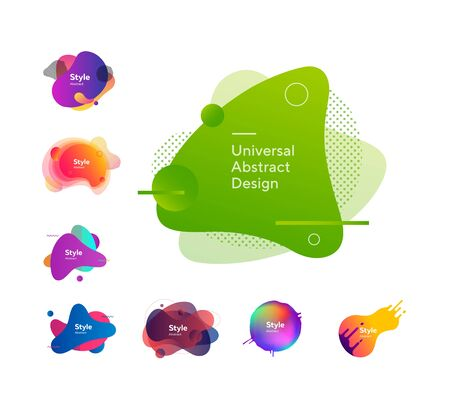 Set of abstract colorful graphic elements. Design background. Can be used for advertising, marketing, presentation 일러스트