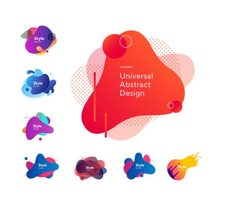 Set of beautiful flowing graphic elements. Design background with flowing shapes. Can be used for advertising, marketing, presentation