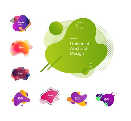 Set of bright abstract figures. Dynamical colored forms and line. Gradient banners with flowing liquid shapes. Can be used for placard, webinar, presentation