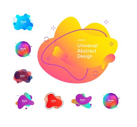 Set of bright colorful abstract graphic elements. Dynamical colored forms and dots. Gradient banners with flowing liquid shapes. Template for design of logo, flyer or presentation.