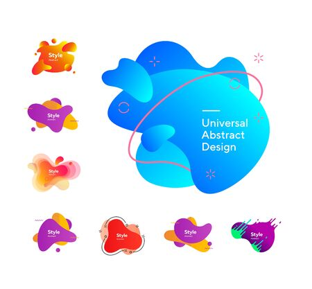 Set of bright creative graphic elements. Dynamical colored forms. Gradient banners with flowing liquid shapes. Template for design of logo, flyer or presentation. Çizim
