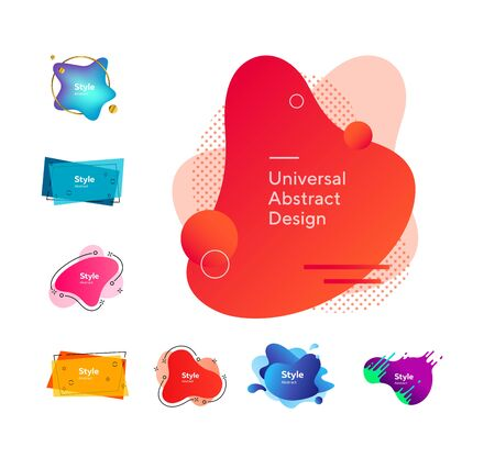 Set of bright geometric graphic elements. Design background. Can be used for advertising, marketing, presentation Çizim