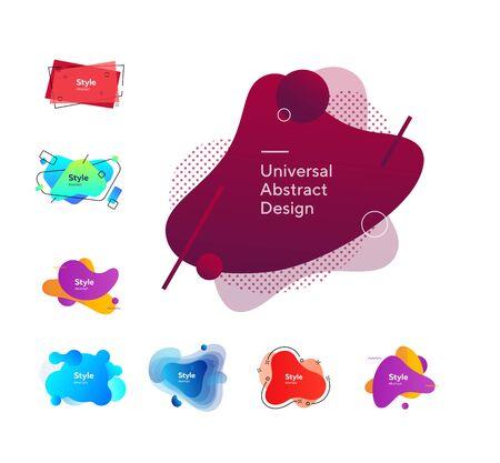 Set of bright geometric liquid shapes. Abstract background. Dynamic effect. Futuristic technology style Çizim