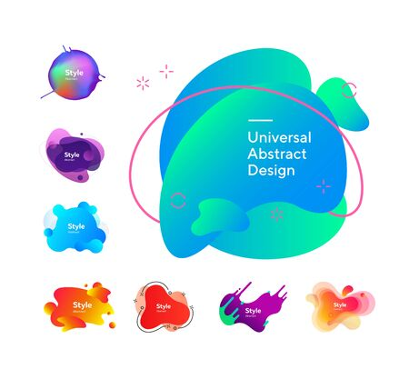 Set of bright gradient flowing shapes. Dynamical colored forms. Can be used for advertising, marketing, presentation
