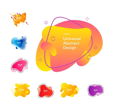 Set of bright multi-colored design elements. Dynamical colored forms and line. Gradient banners with flowing liquid shapes. Çizim