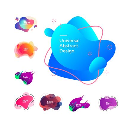 Set of colored liquid shape with splashes. Dynamical colored forms. Gradient banners with flowing liquid shapes.