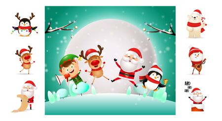 Cheerful Christmas cartoon characters during winter night. Can be used for invitation and greeting card. New Year concept