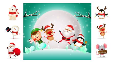 Cute Christmas cartoon characters during winter night. Can be used for invitation and greeting card. New Year concept Ilustração