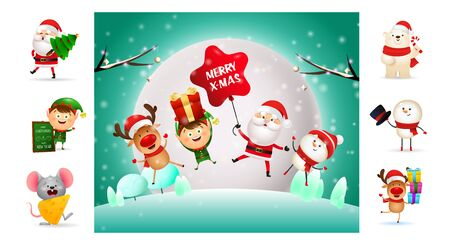 Happy Christmas cartoon characters during winter night. Can be used for invitation and greeting card. New Year concept