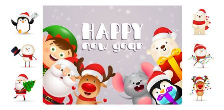 Happy New Year postcard with cartoon characters. Text with decorations can be used for invitation and greeting card. New Year concept Ilustração