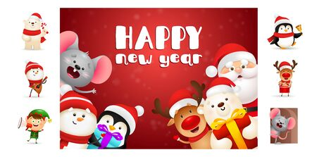 Happy New Year postcard with cheerful cartoon characters. Text with decorations can be used for invitation and greeting card. New Year concept