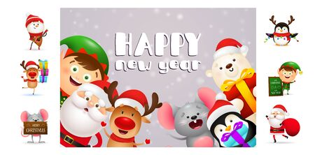 Happy New Year postcard with cute cartoon characters. Text with decorations can be used for invitation and greeting card. New Year concept Ilustração