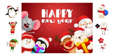 Happy New Year postcard with smiling cartoon characters. Text with decorations can be used for invitation and greeting card. New Year concept