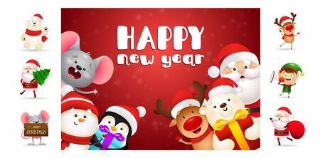 Happy New Year red postcard. Text with decorations can be used for invitation and greeting card. New Year concept