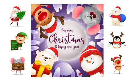 Merry Christmas and happy New Year banner. Text with decorations can be used for invitation and greeting card. New Year concept