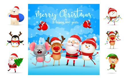 Merry Christmas and happy New Year bright card. Text with decorations can be used for invitation and greeting card. New Year concept