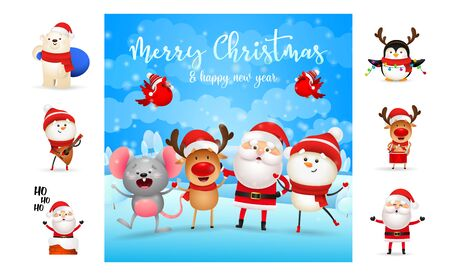 Merry Christmas and happy New Year bright greeting card. Text with decorations can be used for invitation and greeting card. New Year concept