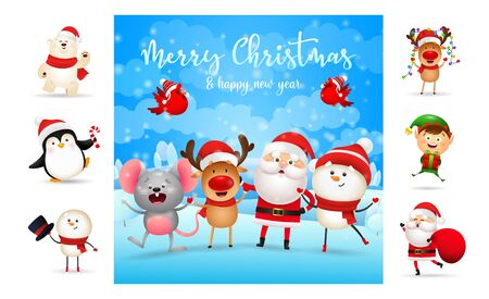 Merry Christmas and happy New Year bright poster. Text with decorations can be used for invitation and greeting card. New Year concept Ilustração