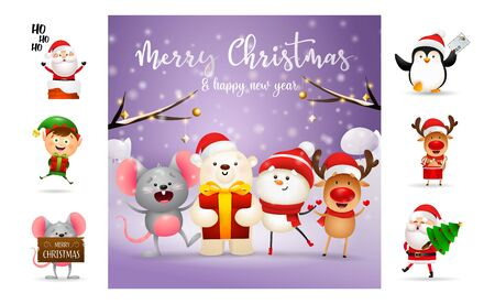 Merry Christmas and happy New Year colorful banner design. Text with decorations can be used for invitation and greeting card. New Year concept Ilustração