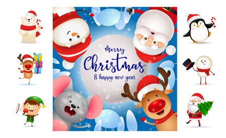 Merry Christmas and happy New Year colorful banner. Text with decorations can be used for invitation and greeting card. New Year concept