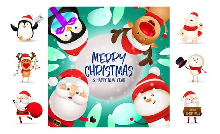 Merry Christmas and happy New Year colorful card. Text with decorations can be used for invitation and greeting card. New Year concept