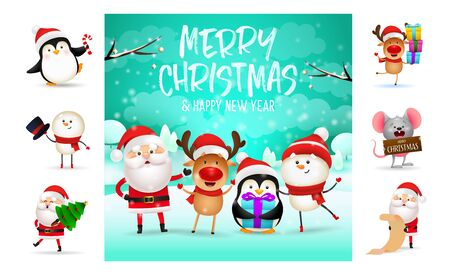 Merry Christmas and happy New Year festive card. Text with decorations can be used for invitation and greeting card. New Year concept