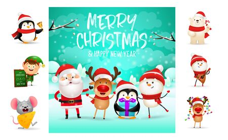 Merry Christmas and happy New Year festive postcard. Text with decorations can be used for invitation and greeting card. New Year concept