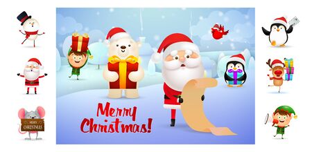 Merry Christmas postcard with cartoon Santa Claus. Text with decorations can be used for invitation and greeting card. New Year concept