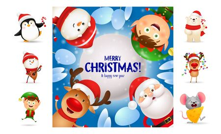 Merry Christmas postcard with cute cartoon characters. Text with decorations can be used for invitation and greeting card. New Year concept