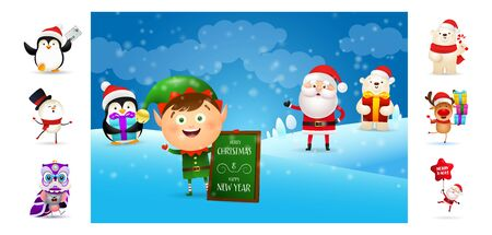 Merry Christmas postcard with cute cartoon elf. Text with decorations can be used for invitation and greeting card. New Year concept