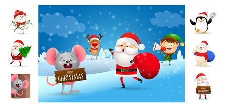 Merry Christmas postcard with Santa Claus and helpers. Text with decorations can be used for invitation and greeting card. New Year concept