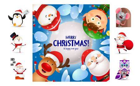 Merry Christmas postcard with smiling cartoon characters. Text with decorations can be used for invitation and greeting card. New Year concept Ilustração