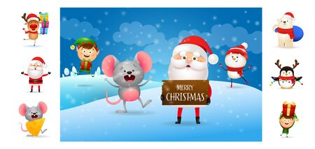 Merry Christmas poster with Santa holding wooden sign with Text. Text with decorations can be used for invitation and greeting card. New Year concept Çizim