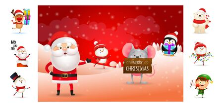 Merry Christmas card with cartoon Santa and helpers. Text with decorations can be used for invitation and greeting card. New Year concept