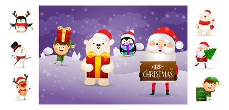 Merry Christmas card with cartoon Santa holding sign. Text with decorations can be used for invitation and greeting card. New Year concept