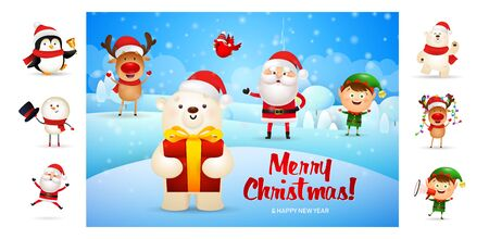 Merry Christmas card with cute bear holding gift. Text with decorations can be used for invitation and greeting card. New Year concept Ilustração