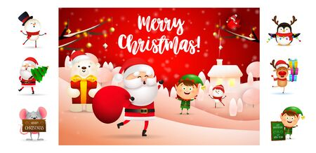 Merry Christmas greeting postcard with Santa Claus. Text with decorations can be used for invitation and greeting card. New Year concept