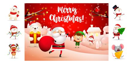 Merry Christmas card with Santa carrying bag. Text with decorations can be used for invitation and greeting card. New Year concept