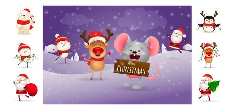 Merry Christmas greeting poster with smiling mouse. Text with decorations can be used for invitation and greeting card. New Year concept Çizim