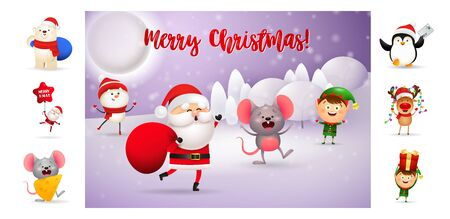 Merry Christmas card with Santa carrying red bag. Text with decorations can be used for invitation and greeting card. New Year concept