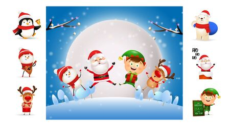 Smiling cute Christmas cartoon characters jumping. Can be used for invitation and greeting card. New Year concept