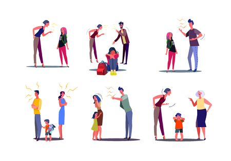 Set of angry people having conflict with wife, husband and child. Men and women arguing and shouting at spouses in presence of unhappy crying kid. Family relationship problem flat vector illustration