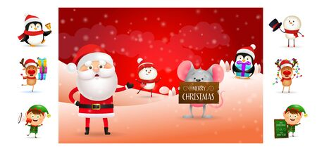 Merry Christmas banner with Santa and his helpers. Text with decorations can be used for invitation and greeting card. New Year concept Ilustração