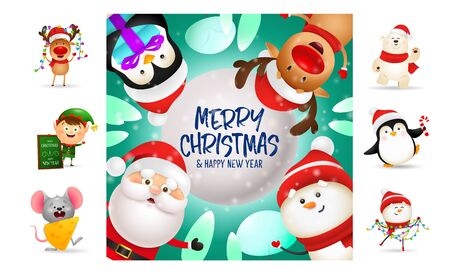 Merry Christmas bright postcard with cute cartoon characters. Text with decorations can be used for invitation and greeting card. New Year concept Ilustração