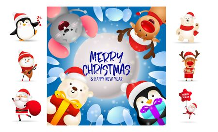 Merry Christmas card on blue background. Text with decorations can be used for invitation and greeting card. New Year concept