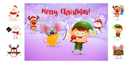 Merry Christmas card with cartoon elf holding loudspeaker. Text with decorations can be used for invitation and greeting card. New Year concept